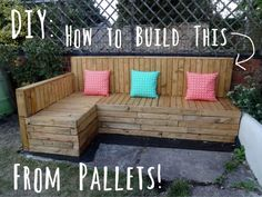 Pallets to palaces upcycling for gardens Wooden pallets can be upcycled and transformed into great outdoor furniture such as this L shaped garden bench. The post Pallets to palaces upcycling for gardens appeared first on Pallet Diy.