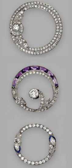 GROUP OF THREE COLORED STONE & DIAMOND BROOCHES, CA 1930. The diamond brooch set with old European-cut diamonds weighing approx 2.25 cts, mounted in platinum; the amethyst & diamond brooch set with calibré-cut amethysts & old European-cut & single-cut diamonds weighing approx 1.60 cts, mounted in platinum; & the sapphire & diamond brooch set with marquise-shaped, old European-cut & single-cut diamonds weighing approx 1.00 ct, mounted in platinum