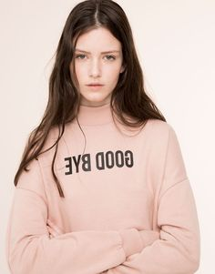 Pull&Bear - mujer - pink rules! - sudadera cuello perkins mensaje - rosa past - 05591303-V2016