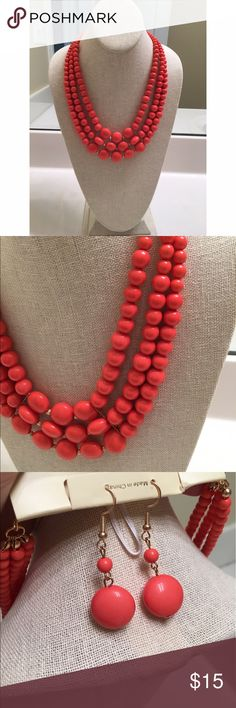 """Cha Cha"" Beaded Necklace & earrings set in Coral 💎Never worn new with tags  💎Beautiful bead jewelry 💎great for summer spring  💎Earrings included pictured above  💎Pet-free seller Jewelry"