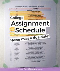 This assignment schedule is a fantastic way to keep track of all your assignments this semester, never miss a due date again!