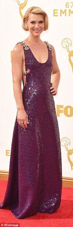 Shining star: Outstanding actress nominee Claire Danes shimmered in Prada...