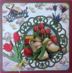 Groetjes uit Holland met klompen en tulpen Oud Hollands Amy Design Marianne Design, Card Making Inspiration, Holland, The Past, Retro, Netherlands, Flowers, Cards, Scrapbooking