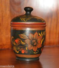 Russian Hand Painted Golden Khokhloma Wooden Jar with Lid 1960's 1970's (0488)
