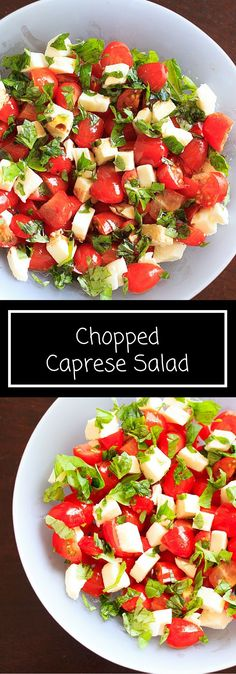 Chopped Caprese salad. An easy way to enjoy this delicious appetizer any time you want! This fresh salad will keep you coming back for more.
