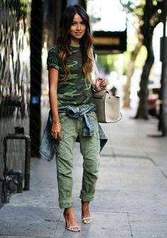 moda feminina - ideias- moda militar - camuflada - estilo militar - elegante e…