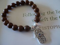 Wood Agate 8mm Beads with Hand of Fatima Hamsa by everydaypretty, $17.00