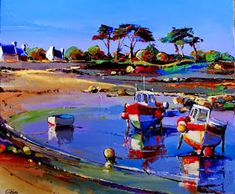 Billedresultat for eric le pape Bright Paintings, Seascape Paintings, Eric Le Pape, Mediterranean Paintings, City Folk, Boat Art, American Artists, Abstract Landscape, Pictures