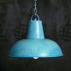 "Fabriklampe / Hängelampe ""Cosy"" hellblau bei Fabrikschick.de - factory lamps industrial style light blue"