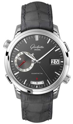 Glashütte Original Senator Diary $32,560 #Glashuette #watch #watches #style #luxury #chronograph white gold case with crocodile skin bracelet and automatic movement