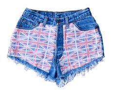 """Union Jack"" Courtesy of Spikes and Seams  #highwaisteddenimshorts #britishflag #unionjack #spikesandseams"