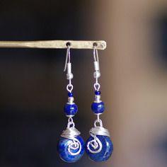 Boucles d'oreilles argent 925 lapis lazuli d'aghanistan