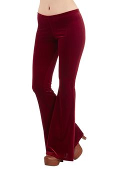 I'll Be Flare Pants in Burgundy. Pull on these plush pants and support stellar style! #red #modcloth