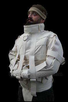 """The Institution"" Straight Jacket restraint extra large straitjacket strait Straight Jacket, Inspiration Mode, Comme Des Garcons, Fabric Manipulation, Neck Collar, Jacket Style, Poses, Converse, Moda Masculina"