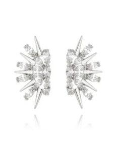 ear cuff moderno com zirconias cristais prata