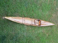 Completely hand-built wood strip kayak from cedar, paulownia, mahogany and cherry
