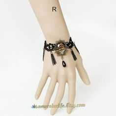 Retro Gothic Black Lace Tassel pearl Bracelet by NewColorLife, $11.99