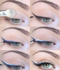 Simple, yet Amazing to Look at! The Blue Eyeshadow over the Black Eyeliner, then the Glitter over the Blue Eyeshadow, then the White Liquid Eyeliner over half Of the Blue Eyeshadow Looks Wow! Winged Eye, Winged Liner, Eye Liner, Beautiful Eye Makeup, Beautiful Eyes, Awesome Makeup, Makeup Tips, Hair Makeup, Makeup Tutorials