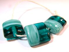 Teal Marina  Handmade Lampwork Glass Beads  Square by VedasBeads, $18.00