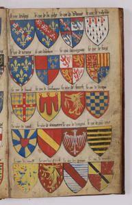 """J'ai mis provisoirement cette page sur Carthage. Armorial dit """"Le Breton"""" ( Hector Le Breton ) datant de l'an 1400 environ. Dessin de blasons coloriés à la main. Exceptionnel: 1 millier de blasons peints dont des blasons médiévaux... Archives de France..."""