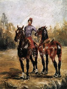 Two Horses with Soldier. Toulouse-Lautrec. 1881. Oil on cardboard. 33 x 24 cm. Musée Toulouse-Lautrec. Albi.
