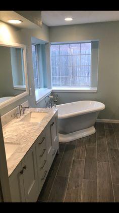 35 briliant master bathroom remodel ideas on a budget 18 Bathroom Renos, Bathroom Renovations, Master Bathroom, Home Remodeling, Bathroom Ideas, Bathroom Cabinets, Bathroom Faucets, Wood Look Tile Bathroom, Bathroom Marble