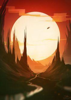 Animation, Concept Art, Models Sheets, etc. usuarios online All works published… Fantasy Art Landscapes, Fantasy Landscape, Landscape Art, Art And Illustration, Landscape Illustration, Game Art, Moon Painting, Matte Painting, Environment Concept Art