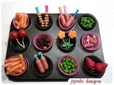 Use mini muffin tin or repurpose old, baby food trays