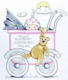 Buggy Girl Sampler Tobin Baby Cross Stitch Kit by Design Works