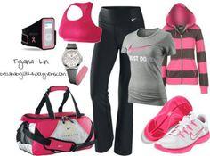 Pink & black workout gear