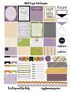 Free Printable Purple Fall Sampler for the Erin Condren Life Planner