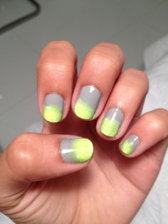 Paint nail grey and then use makeup sponge for neon