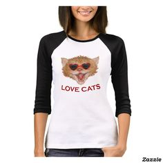 Love cat with heart glasses T-Shirt - personalize custom customizable Heart Glasses, Girls Wardrobe, Comfy Casual, Fitness Models, Shirt Designs, Long Sleeve, Womens Fashion, Cat, Sleeves
