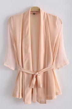 3/4 Sleeve Shawl-Collar Draped Blouse - OASAP.com