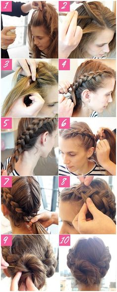 Easy step by step tutorial to create a braided double bun. #StylishBraidStyles #StylishBraid click now to see more...