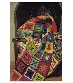 Crochet BLANKET Pattern Vintage 70s Granny Square Afghan Crochet Blanket Pattern Crochet Bed Cover Crochet bedspread Pattern