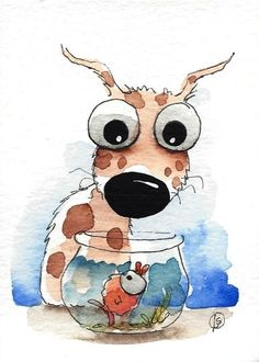 ACEO Original watercolor whimsical animal painting art puppy dog coffee cup #Folkartillustration