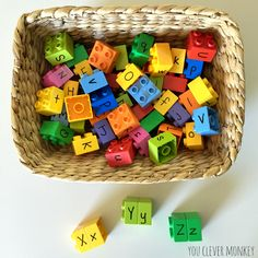 Match the letters literacy centre activity - using Duplo blocks to learn capital and lower case letters | you clever monkey