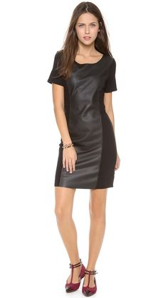 Velvet Ponte Dress with Leather  $158.00 Real Leather