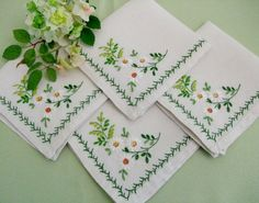 Embroidered Napkins Vintage Set of 4 by TheSweetBasil on Etsy, $12.00