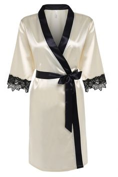 OURS Women's Kimono Robe Short Satin Bathrobe With Lace Detail (XL, Beige) *** Read more info by clicking the link on the image. Ropa Interior Boxers, Ropa Interior Babydoll, Sleepwear Women, Lingerie Sleepwear, Nightwear, Loungewear, Jolie Lingerie, Sexy Lingerie, Luxury Lingerie