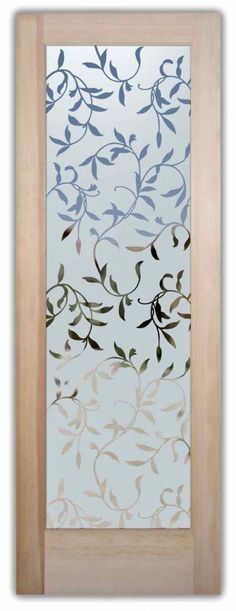 glass entry door etched vines leaves
