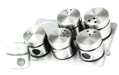 7 Pcs Metal Spice Jars Canister Magnetic Holders Kitchen Storage Glass Canister | eBay (£10.70)