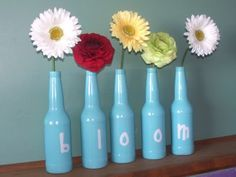 painted soda bottles with lettersb I think I might use Wine bottles of different syles on the Mantle with my last name on it