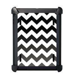 Custom OtterBox Defender Case for Apple iPad Mini - Black Fade Chevron Stripes