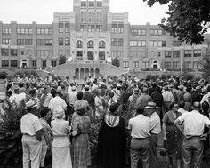 ABD okullarında beyaz karma eğitim beyazlar ve siyahlar karşı protestolar. ABD. propagandanın tarihi