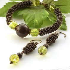 Coiled wire gemstone bracelet and earrings