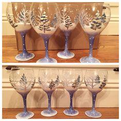 https://www.etsy.com/shop/buttonwoodboutique   Winter wonderland hand painted wine glasses
