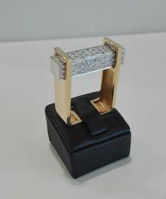 Bague en or bicolore, 19,2 kt - 90 Diamants: 0,68 ct - Full Cut - Couleur: I - J - VVS - Poids total: 17,27 g - Taille: 16/56 EU
