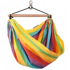 Kid's Rainbow Hammock Chair Swing can be hung indoors or out. Made of 100% heavyweight cotton with colorful stripes. $69.95